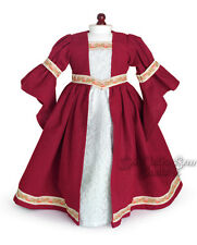 For American Girl; Burgundy Renaissance Dress Costume Doll Clothes