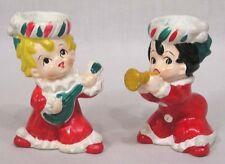 Vintage Christmas Lefton Musician Kids Candle Holder Set Horn Mandolin