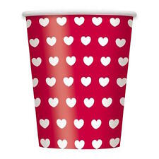 VALENTINE 8 PAPER CUPS PARTY DINNER HEARTS RED WHITE DRINKS DISPOSABLE FUN
