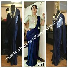 Actriz de televisión indio Hina Khan Diseñador Azul Marino y Plata Fiesta Sari Saree