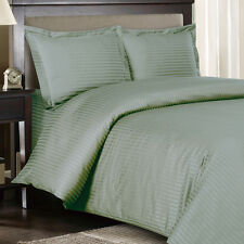 1000 Thread Count 100% Egyptian Cotton DUVET Set FULL / QUEEN Sage Stripe