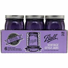 Ball 32 oz Wide Mouth Quart Purple Mason Canning Jars Lid Band American Heritage