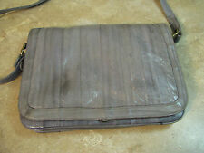 Beautiful GRAY EEL SKIN MESSENGER BAG PURSE Vintage 80's? CROSSBODY FLAP FRONT