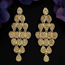 New Fashion 18K Gold GP Golden Crystal Rhinestone Drop Dangle Earrings 04190