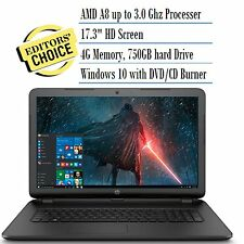 "New Sealed HP 17.3"" laptop AMD Dual Core/4GB/750GB/DVD-RW/HDMI/Win10/WiFi/Webcam"
