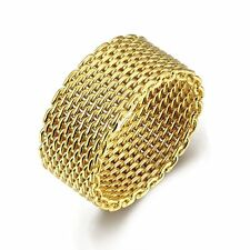 Gold/Silver Plated Mesh Ring Men/Women's Wedding Band Flexible Jewelry Size 6-10