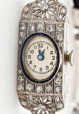 Antique 1920s $10K 3ct Old Euro Diamond Blue Sapphire Platinum Ladies Watch RARE