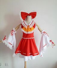 Touhou Project Hakurei Reimu Cosplay Costume Red&White Full Set Fold Dress XL