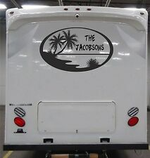 Custom Beach scene Decal  for rv travel trailer camper with family name