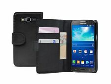 Billetera De Cuero Negro Funda Pouch Samsung Galaxy Grand 2 Ii sm-g7102 Doble