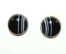Black and White Agate 12mm Cabochons Set of 2 (9406)