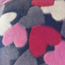 Cuddle  fleece grey with multi coloured hearts 1.45m wide for craft