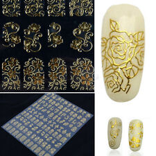 GOLD NAIL ADESIVI 108pc Art Decalcomanie 3D-Autoadesivo FIORE DECORAZIONI