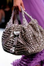 Auth FENDI Limited Ed Crackle Silver Suede Spy Bag Jours - Gorgeous $5900 RTL