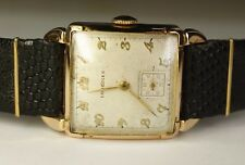 Longines 14K Solid Gold Square 17J 10L Vintage 1940's Swiss Watch Black Leather