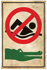 CROCODILE Warning No Swimming Tin Sign 20 x 30 cm