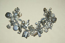 Vintage 1940's Collector's AMERICANA Sterling Silver charm bracelet w/33 charms!