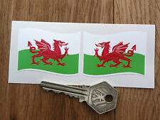 "Welsh Dragon Flag Wavy STICKERS 2"" Pair Wales St Davids UK Cymru Car Bike Travel"