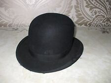 Vintage Retro Mens Boys Black Bowler Hat Battersby London Small 6 1/2