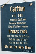 History Carlton Footy Club Aussie Rules Bar Man Cave Shed BBQ Wooden Timber Sign