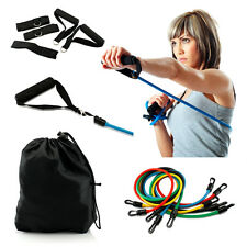 11 PCS Resistance Band Set Yoga Pilates Abs Exercise Fitness Tube Workout B