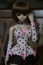 "Dollfie Dream OOAK pink and black outfit ""Polka Dot"" DD DDS MDD SD13 DDdy Volks"