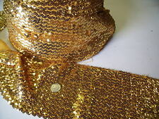 HEAVY STRETCH SEQUIN-GOLD -DRESS TRIMMING-FREE P&P