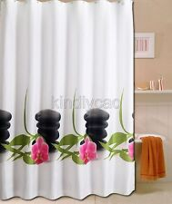 Black Stone Red Floral Flower Design Bathroom Fabric Shower Curtain Ks856