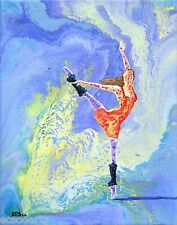 Original Acrylic Abstract Ballerina Painting -Routine Workout- New Artist Signed