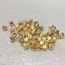 5mm Gold Plated Hollow Bicone Corrugated Beads/Spacers, 25 Beads