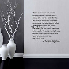Audrey Hepburn Beauty Of the Women Quote Wall Decal Sticker Room Background New