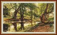 "'SUMMER FOREST' Cross Stitch Chart/Pattern (21¼""x12½"") Detailed/Landscape"
