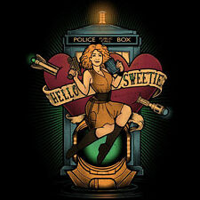 DOCTOR WHO Hello Sweetie RIVER SONG Artwork Dr Companion Art NEW TEEFURY T-SHIRT
