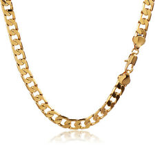 9K Gold Filled Mens Hip Hop Cuban Link Chain Long Necklace 7mm Thick