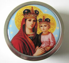 Handcrafted Crowned Virgin Mary Religious Screw Tin Antique French Rosary Inside