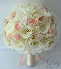 17pcs Wedding Bridal Bouquet Silk Flower Decoration Package Roses PEACH IVORY