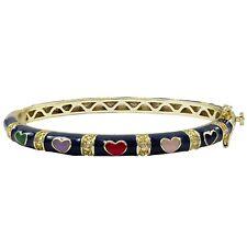 Navy Multi Color Enamel Hearts Gold Plated Kids Girls Bangle Bracelet 50mm