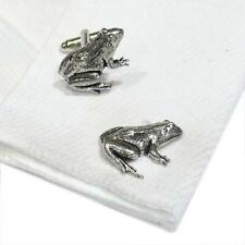 Silver Pewter Frog Cufflinks English Hand Made Toad Amphibean New