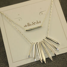Stella And Dot Rebel Cluster Necklace Silver Chain Tassel Pendant Charm Jewelry