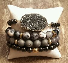 4 SILVER DRUZY CRYSTAL GEMSTONE BEAD STRETCH JEWELRY BRACELETS SET GRAY GOLD