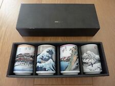 Traditional Japanese Pictures Tea Mugs Cups set of 4 in Gift Box MADE IN JAPAN
