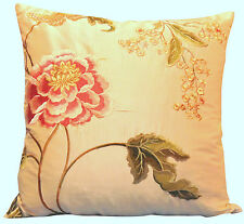 Colefax & Fowler Oriental Poppy Gold Cushion Cover 16''