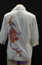 RLL RALPH LAUREN button down Top blouse shirt white multi peacock SIZE S VTG NEW