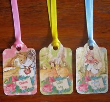Beatrix Potter 12 tags pastel colors party favors silk ribbons personalize