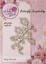 Christmas Holly Creative Steel Die Cutting Dies WILD ROSE STUDIO SD023 New