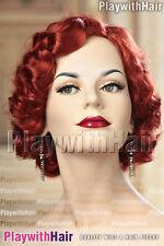 Vintage Fingerwave Wig Hot Henna Red