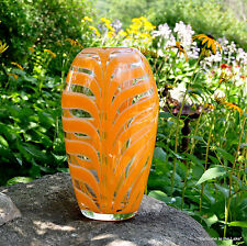 Pulled Feather Glass Vase Orange & Clear With Glass Tulip Included