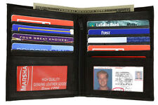 BLACK Men's GENUINE LEATHER Leather Hipster Wallet Bifold Wallet 10 Card 2 ID