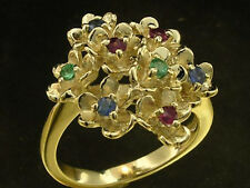 R106- Genuine 9K Yellow Gold Ruby Sapphire Emerald Bouquet Blossoms Ring size N