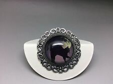 Black Cat and Moon Brooch Badge Lapel Pin Antique Silver 35mm Diameter Design 1